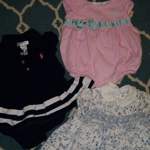 3 EUC Ralph Lauren baby girl outfits